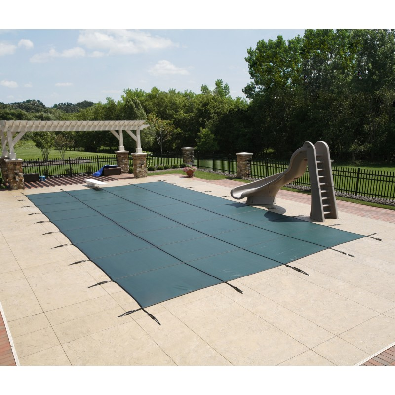 Blue Wave Arctic Armor 15x30 20-Year Super Mesh In-Ground Pool Safety Cover w/ Left Step - Green (WS713G)