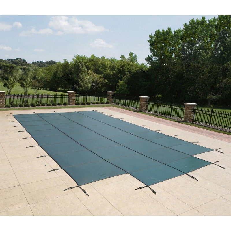 Blue Wave Arctic Armor 20x44 20-Year Super Mesh In-Ground Pool Safety Cover w/ Center End Step - Green (WS757G)