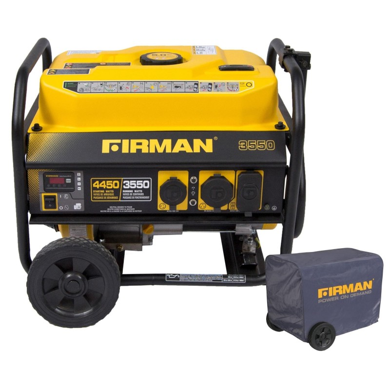 Firman Power Equipment Gas Powered 3550/4450 Performance Series Portable Generator with Wheel Kit and Cover (P03501)