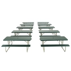 Lifetime 10 Pack - 6 ft. Plastic Folding Picnic Tables - Hunter Green (82123)