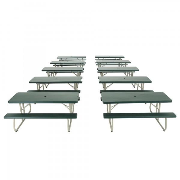 Lifetime 10 pack 6 ft plastic folding picnic tables hunter plastic folding picnic tables hunter green 82123 watchthetrailerfo