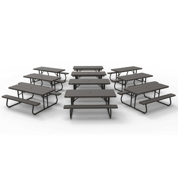lifetime 10 pack 6 ft plastic folding picnic tables brown woodgrain 860112. Black Bedroom Furniture Sets. Home Design Ideas