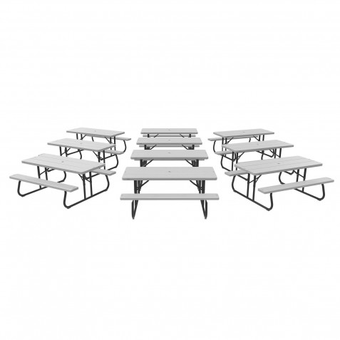 Lifetime 10 Pack - 6 ft. Plastic Folding Picnic Tables - Gray (860228)