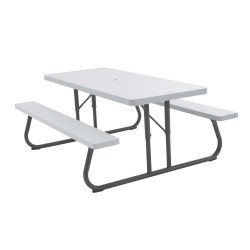 Lifetime 10 Pack - 6 ft. Plastic Folding Picnic Tables - White Granite (880215)
