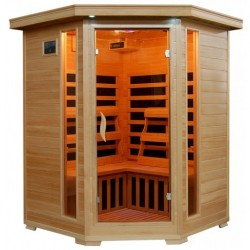 Sante Fe - Hemlock 3 Person FAR Infrared Sauna With Carbon Heaters - Corner Unit (SA2412DX)