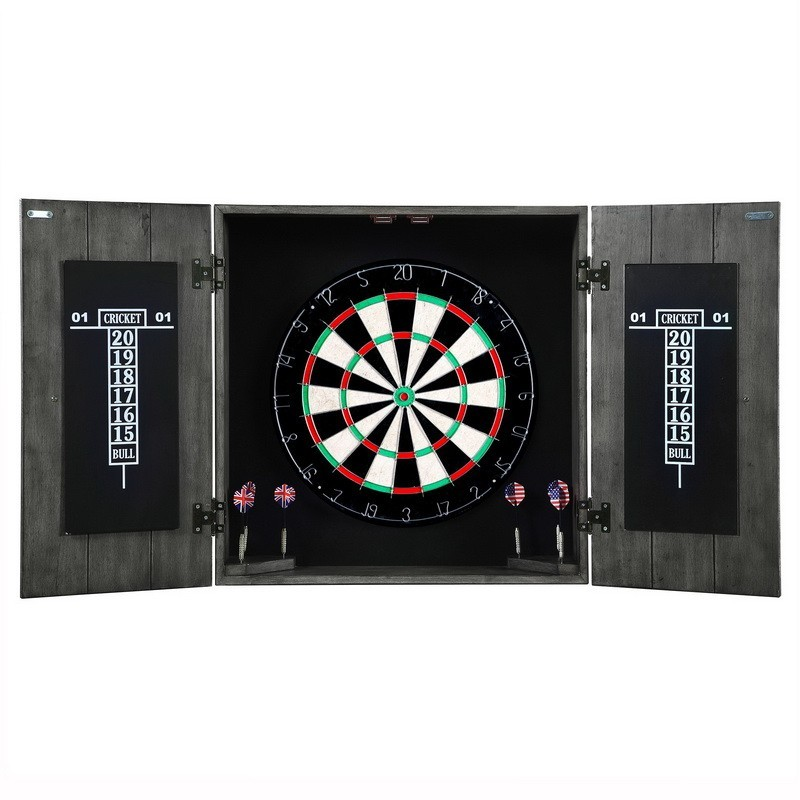 Blue Wave Drifter Solid Wood Dartboard u0026 Cabinet Set - Timberwood Distressed finish (NG1046)