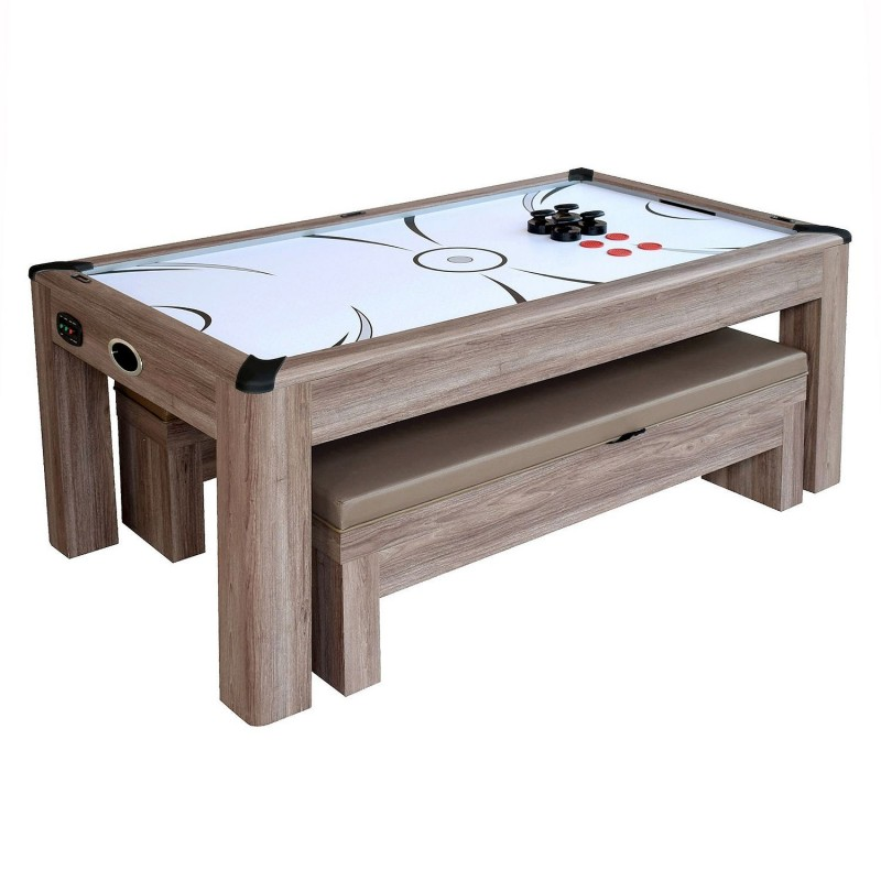 Blue Wave Driftwood 7-ft Air Hockey Table Combo Set w/Benches (NG1137H)