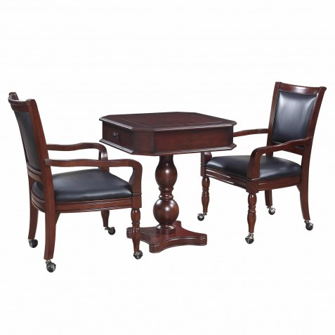 Blue Wave Fortress Chess, Checkers & Backgammon Table & Chair Set - Mahogany (NG2995)