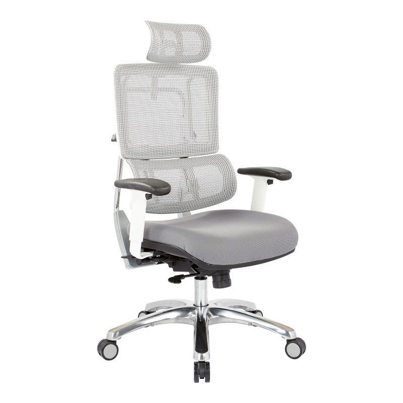 Pro-Line II Breathable White Vertical Mesh Chair with Headrest (99661WHRW-5811)