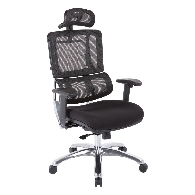 Pro-Line II Vertical Black Mesh Back Chair with Headrest (99662CHRB-30)