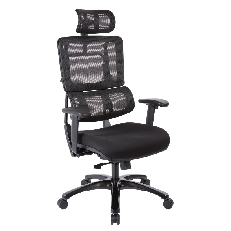 Pro-Line II Vertical Black Mesh Back Chair with Shiny Black Base with Headrest (99663BHRB-30)