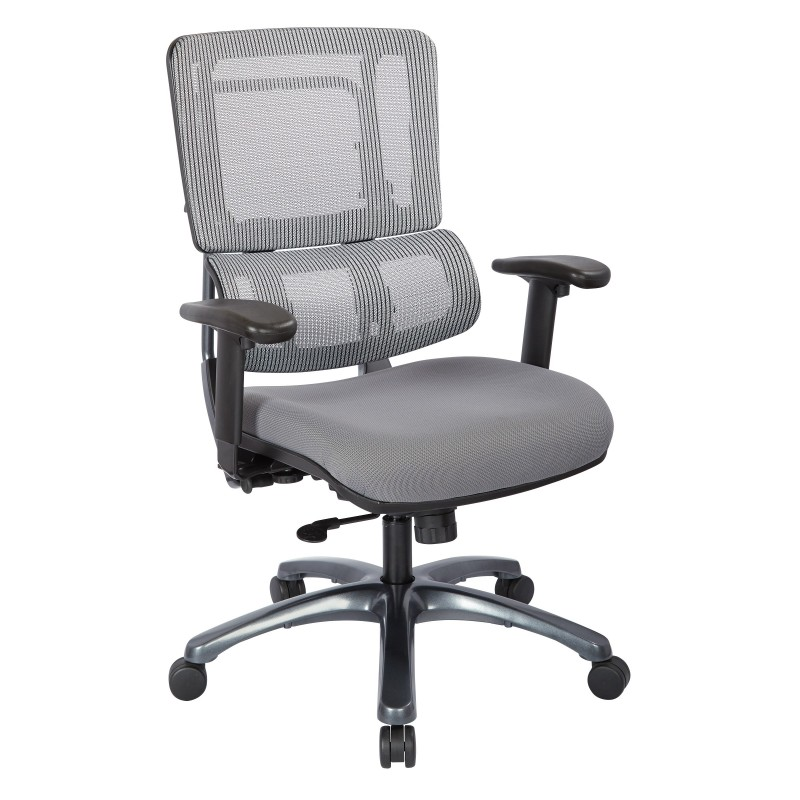 Pro-Line II Vertical Grey Mesh Back Chair with Titanium Base (99667T-5811)