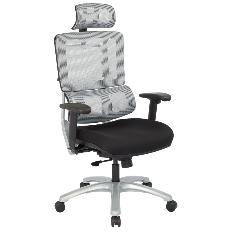Pro-Line II Vertical Grey Mesh Back Chair with Silver Base with headrest (99666SHRS-30)