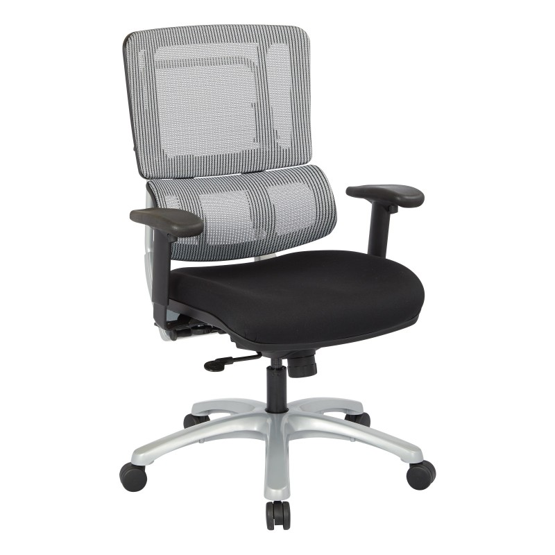 Pro-Line II Vertical Grey Mesh Back Chair with Silver Base (99666S-30)