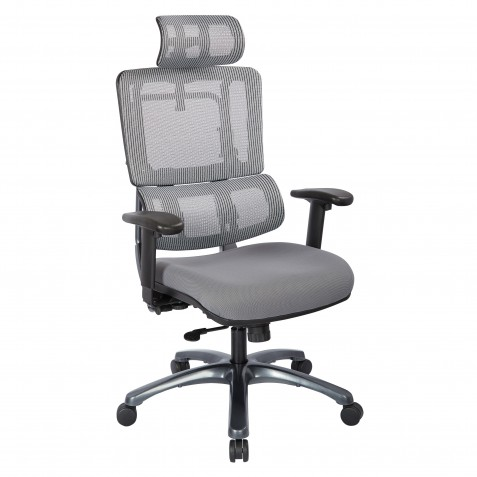 Pro-Line II Vertical Grey Mesh Back Chair with Titanium Base with headrest (99667THRS-5811)