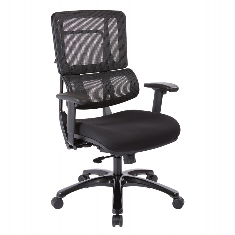Pro-Line II Vertical Black Mesh Back Chair with Shiny Black Base (99663B-30)
