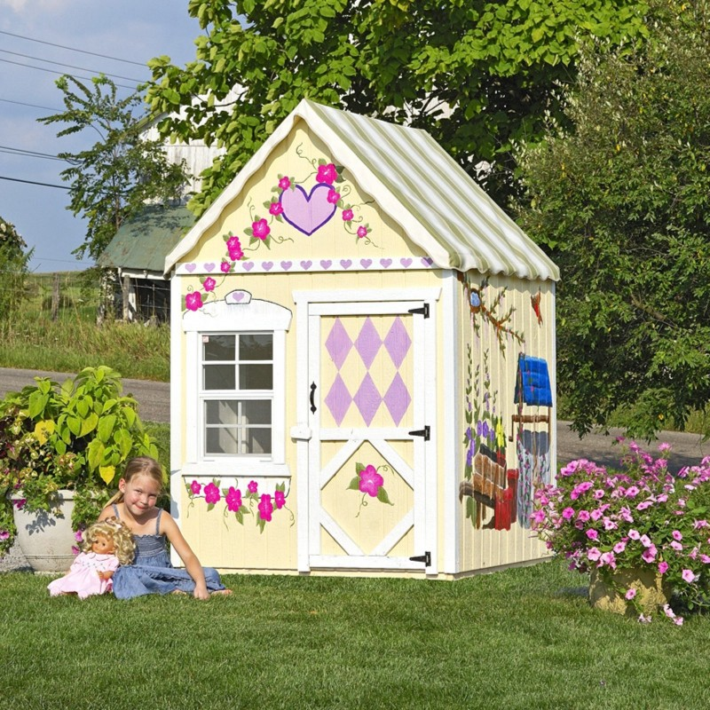 Little Cottage Company Sweetbriar 4x4 Playhouse Kit with Floor (4x4SBWPNK)