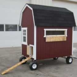 Little Cottage Company Barn Coop 4x6 Panelized Kit with Wheels (4XGBCWW-WPNK)