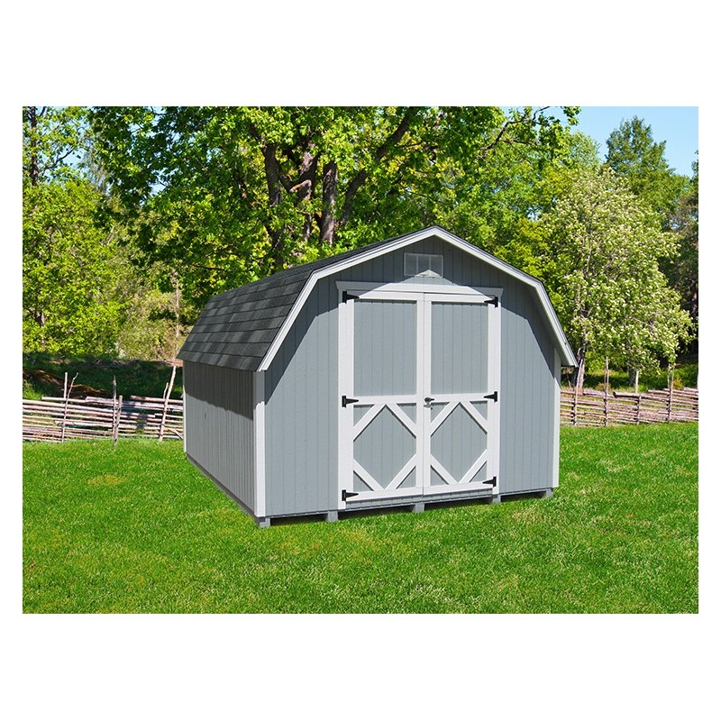 Little Cottage Company Classic Gambrel Barn 10' x 12' Storage Shed Kit (10X12 CWGB-4-WPNK)