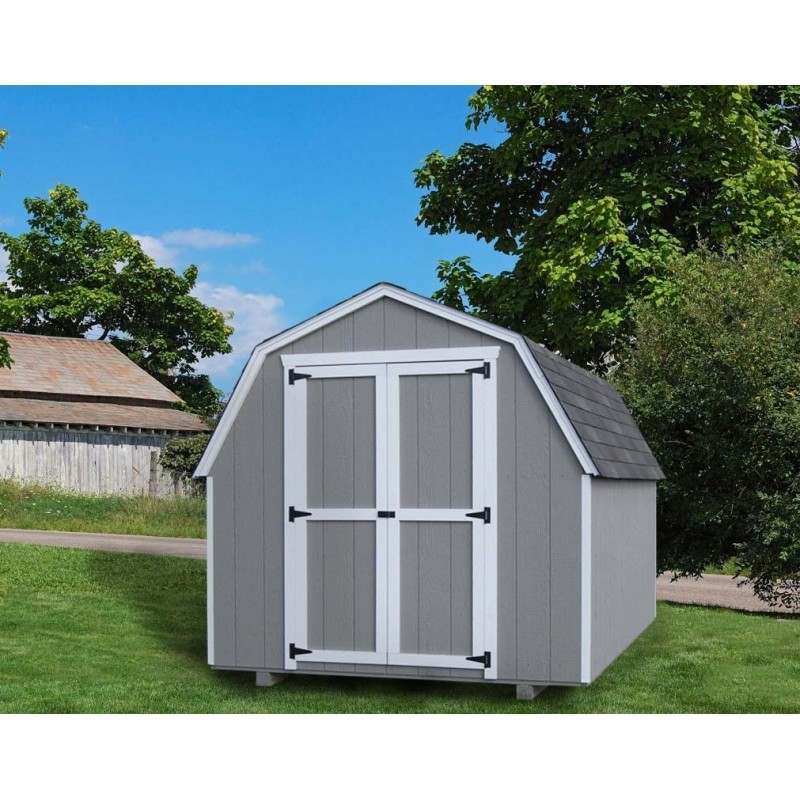 Little Cottage Company Gambrel Barn 8' x 10' Storage Shed Kit with 4' Side Walls (8X10 VGB-4-WPC)