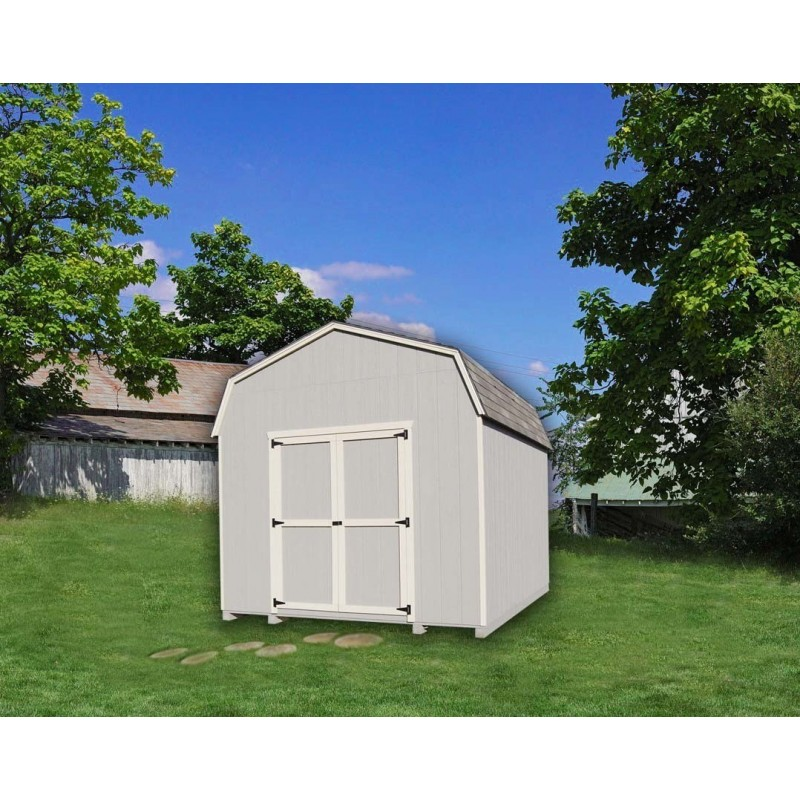 Little Cottage Company Gambrel Barn 8' x 8' Storage Shed Kit with 6' Side Walls (8X10 VGB-4-WPC)