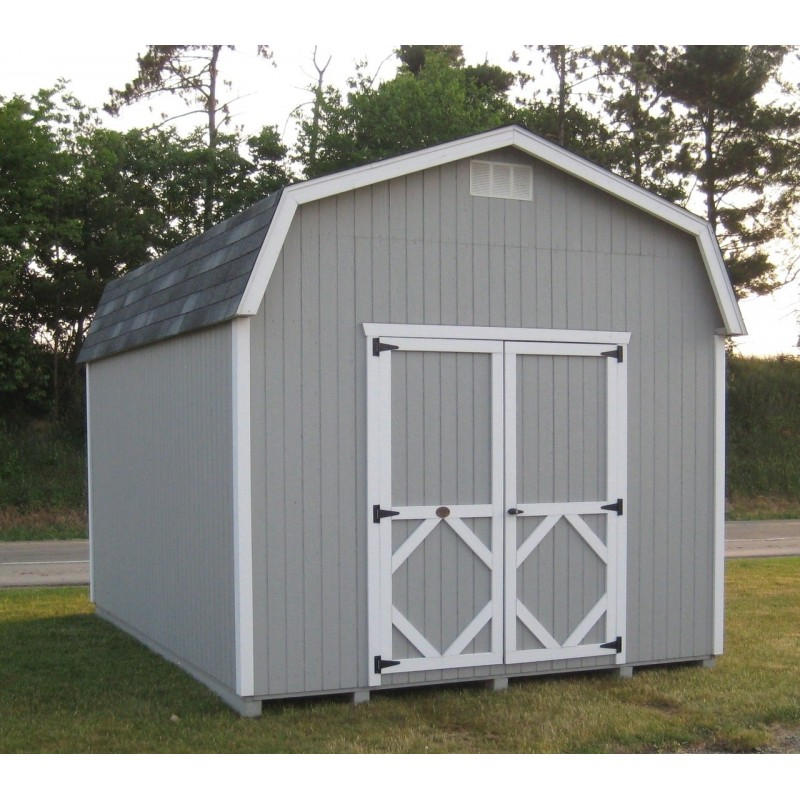 Little Cottage Company Classic Gambrel Barn 8' x 14' Storage Shed Kit with 6' Side Walls (8X14 CWGB-6-WPNK)