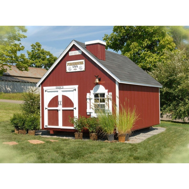 Little Cottage Company Firehouse 8' x 8' Playhouse Kit (8x8 FHP-WPNK)