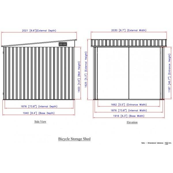 Duramax Bicycle Storage Shed Kit - Anthracite w/ White Trim (73051)