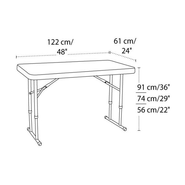 Commercial Adjustable Height Folding Table (White) 80160 ...