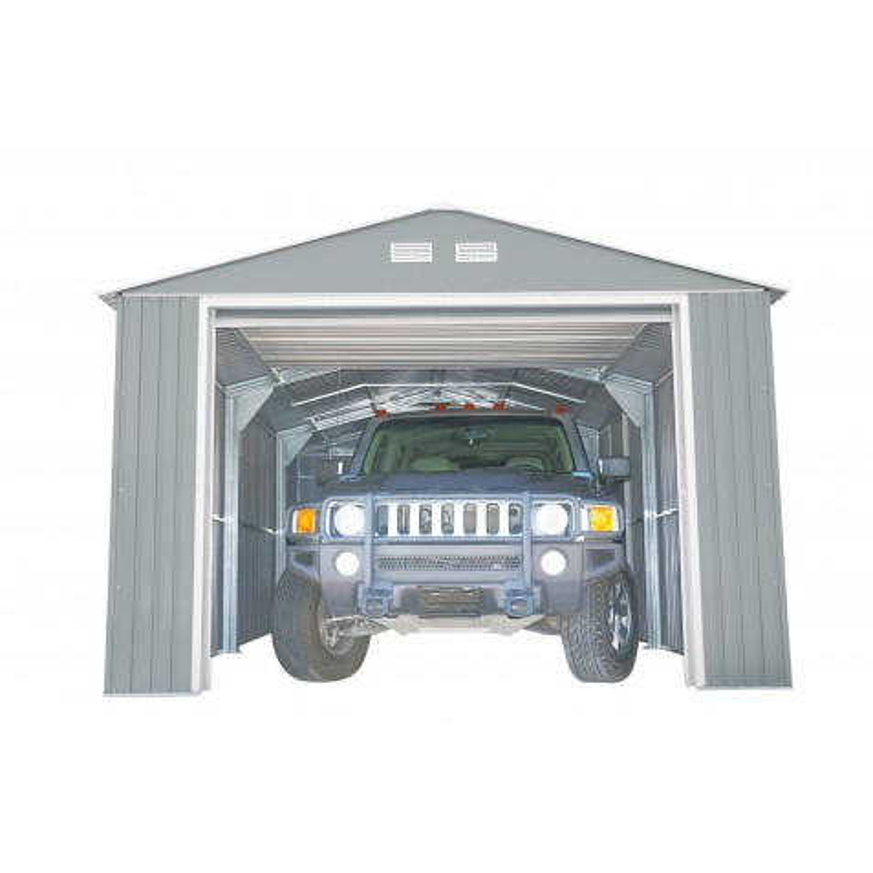 DuraMax 12x26 Light Grey Imperial Metal Storage Garage Building Kit (55152)
