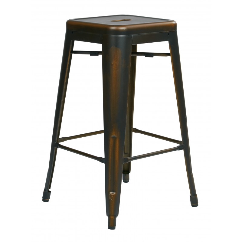 "OSP Designs Bristow 26"" Antique Metal Barstool 4 pack - Antique Copper Finish (BRW3026A4-AC)"