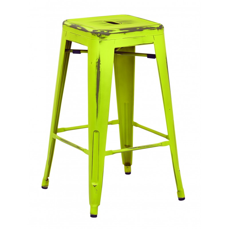 "OSP Designs Bristow 26"" Antique Metal Barstool 4 pack - Antique Lime Finish (BRW3026A4-AL)"