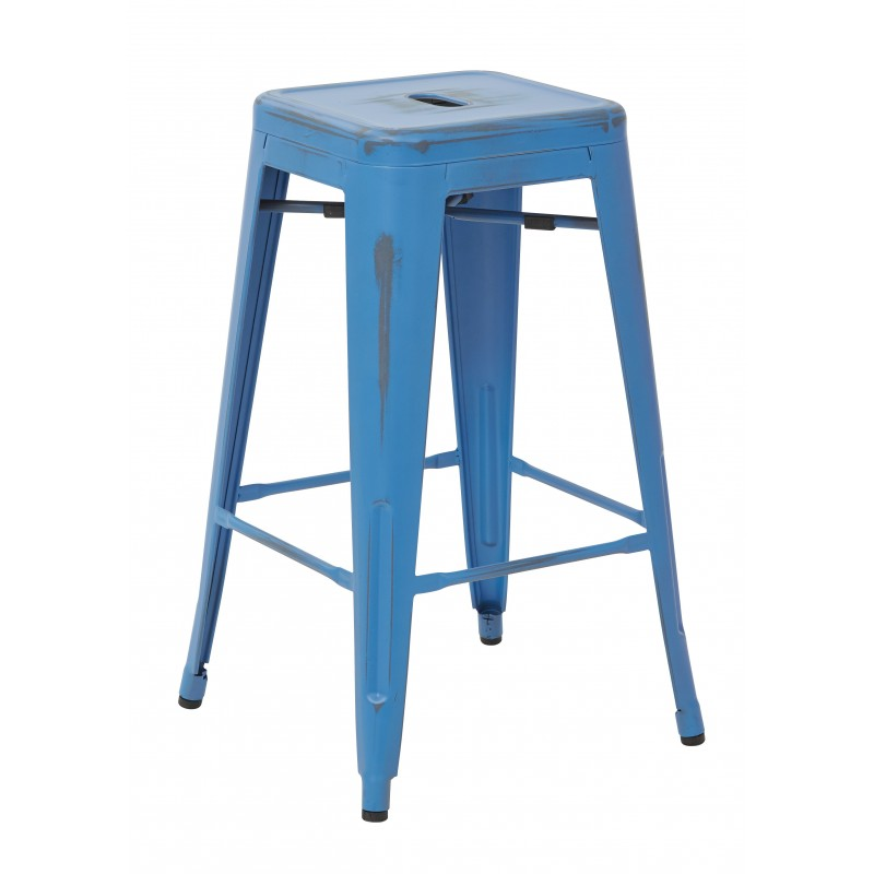 "OSP Designs Bristow 26"" Antique Metal Barstool 4 pack - Antique Royal Blue Finish (BRW3026A4-ARB)"