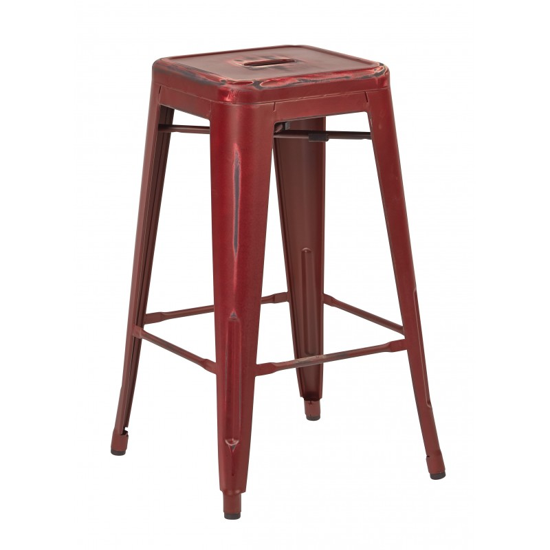 """OSP Designs Bristow 26"""" Antique Metal Barstool 4 pack - Antique Red Finish (BRW3026A4-ARD)"""