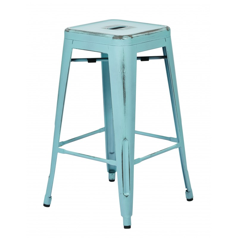 "OSP Designs Bristow 26"" Antique Metal Barstool 4 pack - Antique Sky Blue Finish (BRW3026A4-ASB)"