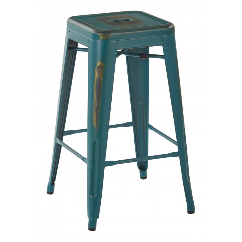 "OSP Designs Bristow 26"" Antique Metal Barstool 4 pack - Antique Torquoise Finish (BRW3026A4-ATQ)"