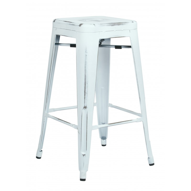 "OSP Designs Bristow 26"" Antique Metal Barstool 4 pack - Antique White Finish (BRW3026A4-AW)"