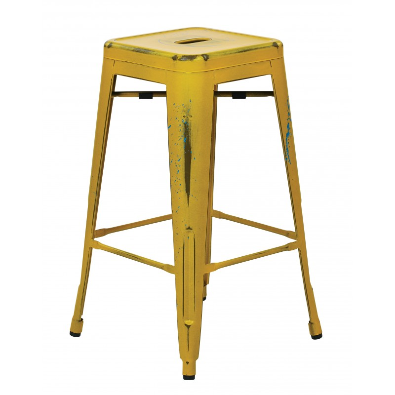 """OSP Designs Bristow 26"""" Antique Metal Barstool 4 pack - Antique Yellow w/ Blue Specks Finish (BRW3026A4-AY)"""
