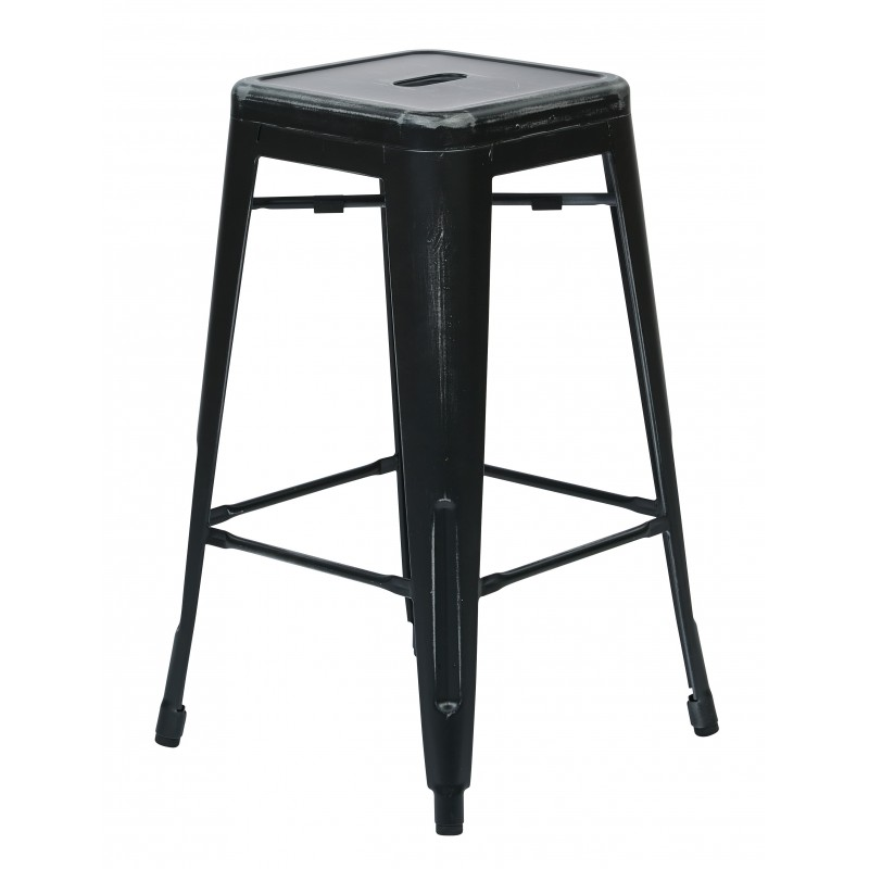 "OSP Designs Bristow 26"" Antique Metal Barstool 2 pack - Antique Black Finish (BRW3026A2-AB)"