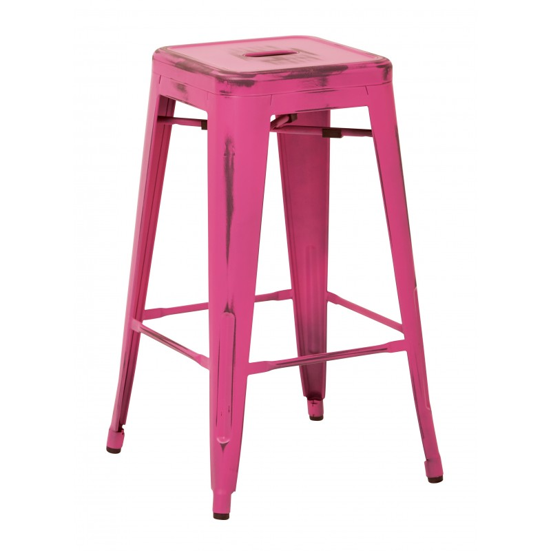 "OSP Designs Bristow 26"" Antique Metal Barstool 2 pack - Antique Pink Finish (BRW3026A2-AP)"