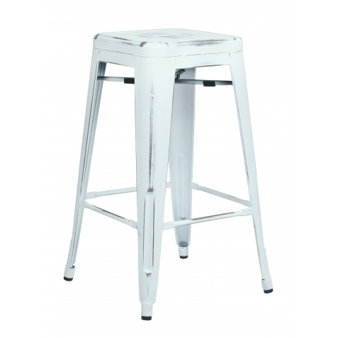 "OSP Designs Bristow 26"" Antique Metal Barstool 2 pack - Antique White Finish (BRW3026A2-ATW)"