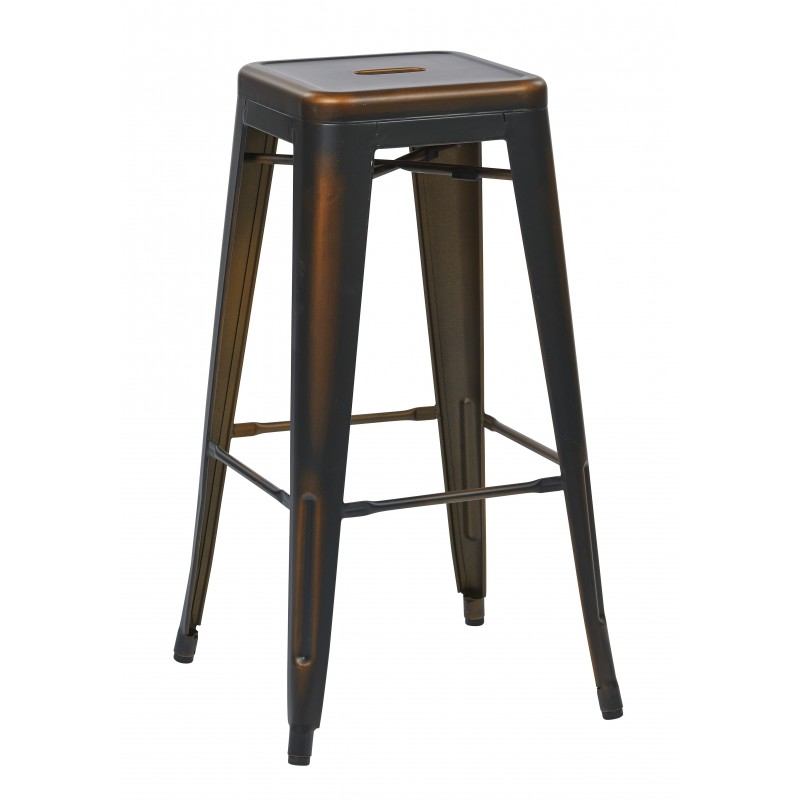"OSP Designs Bristow 30"" Antique Metal Barstool 2 pack - Antique Black Finish (BRW3030A2-AB)"