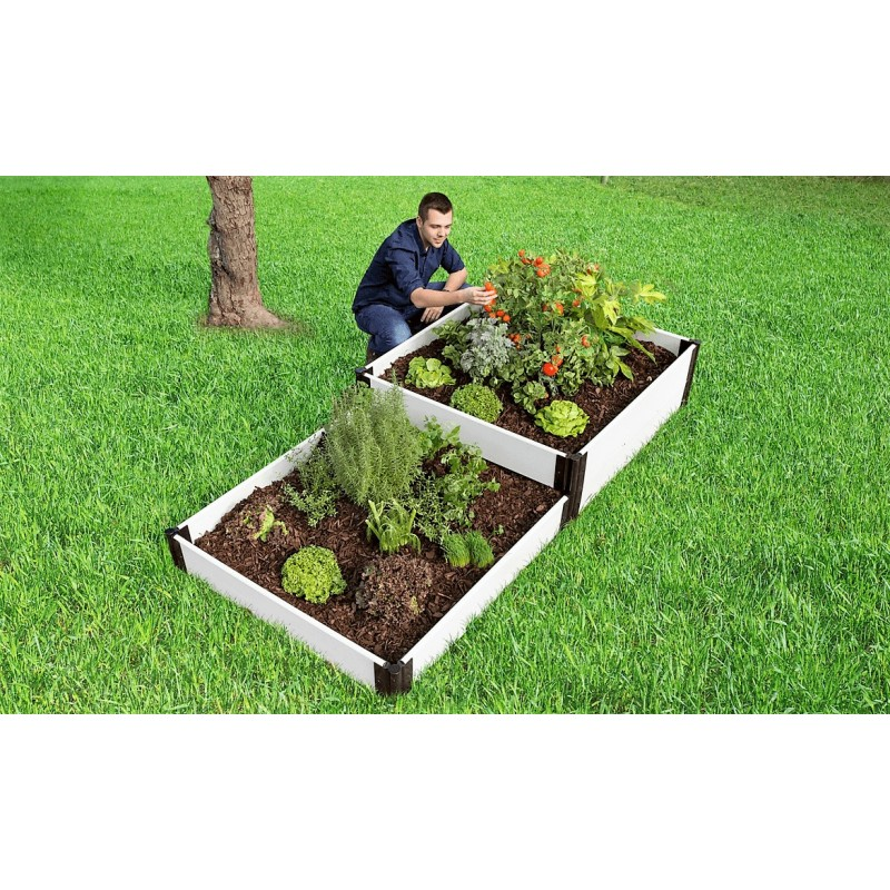 Frame It All Classic White Raised Garden Bed 4x8 Terraced (300001406)