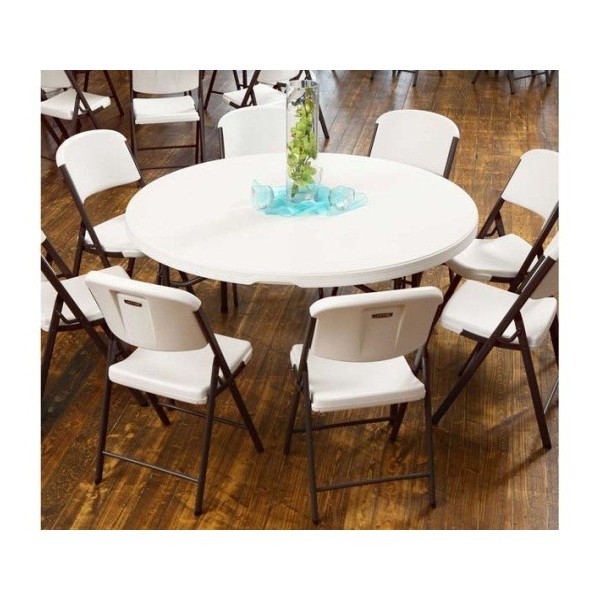 Lifetime 4 Pack 60 Inch Round Commercial Stacking Folding Tables Almond 480435