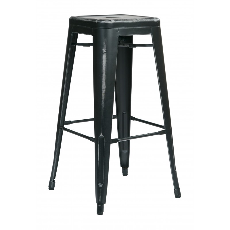 "OSP Designs Bristow 30"" Antique Metal Barstool 4 pack - Antique Black Finish (BRW3030A4-AB)"