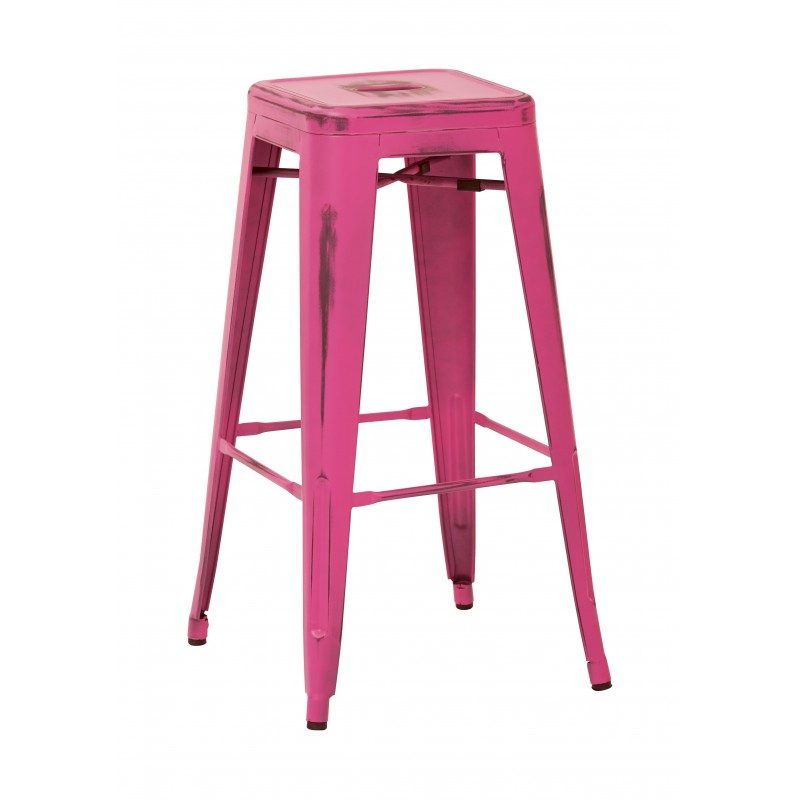 "OSP Designs Bristow 30"" Antique Metal Barstool 4 pack - Antique Pink Finish (BRW3030A4-AP)"