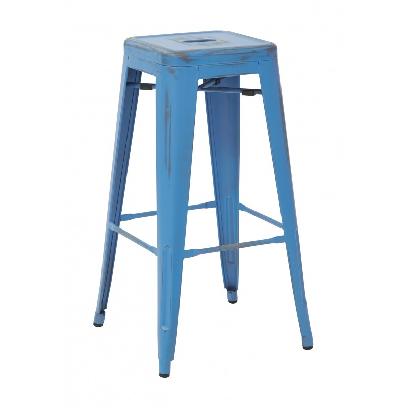 "OSP Designs Bristow 30"" Antique Metal Barstool 4 pack - Antique Royale Blue Finish (BRW3030A4-ARB)"