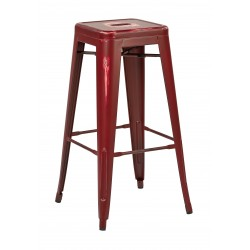 "OSP Designs Bristow 30"" Antique Metal Barstool 4 pack - Antique Red Finish (BRW3030A4-ARD)"
