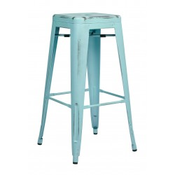 "OSP Designs Bristow 30"" Antique Metal Barstool 4 pack - Antique Sky Blue Finish (BRW3030A4-ASB)"