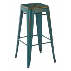 "OSP Designs Bristow 30"" Antique Metal Barstool 4 pack - Antique Torquoise Finish (BRW3030A4-ATQ)"